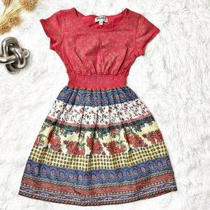 MUDD Red and Shiny Striped Floral Dress